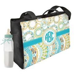Teal Circles & Stripes Diaper Bag (Personalized)