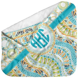 Teal Circles & Stripes Baby Hooded Towel (Personalized)