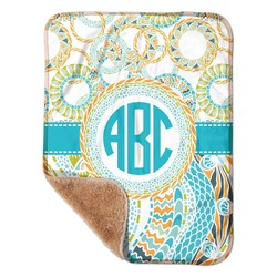 """Teal Circles & Stripes Sherpa Baby Blanket 30"""" x 40"""" (Personalized)"""