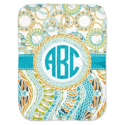 Teal Circles & Stripes Baby Swaddling Blanket (Personalized)