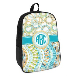 Teal Circles & Stripes Kids Backpack (Personalized)