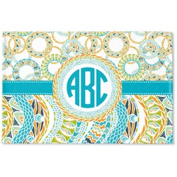 Teal Circles & Stripes Woven Mat (Personalized)