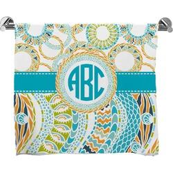 Teal Circles & Stripes Full Print Bath Towel (Personalized)