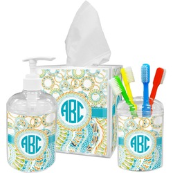 Teal Circles & Stripes Bathroom Accessories Set (Personalized)