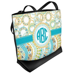 Teal Circles & Stripes Beach Tote Bag (Personalized)