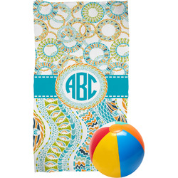 Teal Circles & Stripes Beach Towel (Personalized)