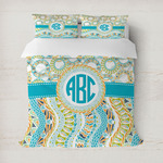 Teal Circles & Stripes Duvet Cover (Personalized)