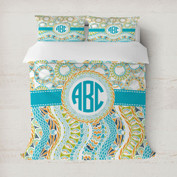 Teal Circles & Stripes Duvet Covers (Personalized)