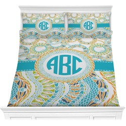 Teal Circles & Stripes Comforter Set (Personalized)
