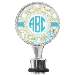 Teal Circles & Stripes Wine Bottle Stopper (Personalized)