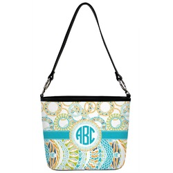 Teal Circles & Stripes Bucket Bag w/ Genuine Leather Trim (Personalized)
