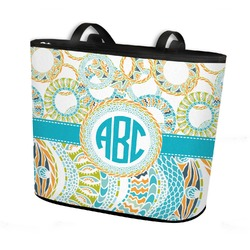 Teal Circles & Stripes Bucket Tote w/ Genuine Leather Trim (Personalized)
