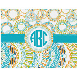 Teal Circles & Stripes Woven Fabric Placemat - Twill w/ Monogram