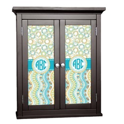 Teal Circles & Stripes Cabinet Decal - Custom Size (Personalized)