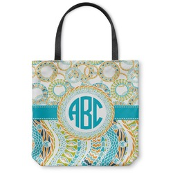 Teal Circles & Stripes Canvas Tote Bag (Personalized)