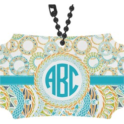 Teal Circles & Stripes Rear View Mirror Ornament (Personalized)