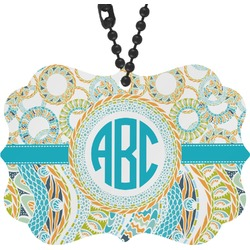 Teal Circles & Stripes Rear View Mirror Decor (Personalized)