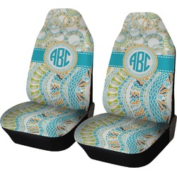 Teal Circles & Stripes Car Seat Covers (Set of Two) (Personalized)
