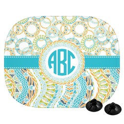 Teal Circles & Stripes Car Side Window Sun Shade (Personalized)