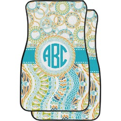 Teal Circles & Stripes Car Floor Mats (Front Seat) (Personalized)