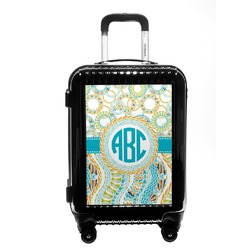 Teal Circles & Stripes Carry On Hard Shell Suitcase (Personalized)