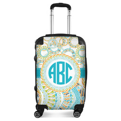 Teal Circles & Stripes Suitcase (Personalized)
