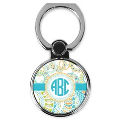 Teal Circles & Stripes Cell Phone Ring Stand & Holder (Personalized)