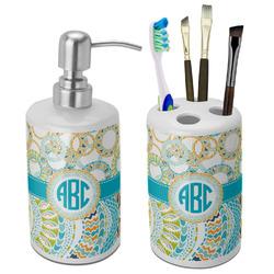 Teal Circles & Stripes Bathroom Accessories Set (Ceramic) (Personalized)