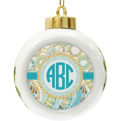 Teal Circles & Stripes Ceramic Ball Ornament (Personalized)