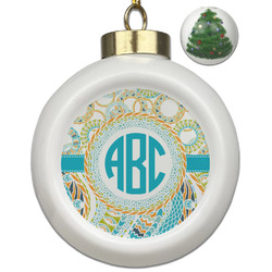 Teal Circles & Stripes Ceramic Ball Ornament - Christmas Tree (Personalized)