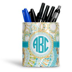 Teal Circles & Stripes Ceramic Pen Holder