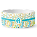 Teal Circles & Stripes Ceramic Dog Bowl (Personalized)