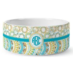 Teal Circles & Stripes Ceramic Pet Bowl (Personalized)