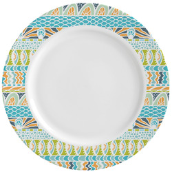 Teal Circles & Stripes Ceramic Dinner Plates (Set of 4) (Personalized)