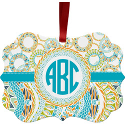 Teal Circles & Stripes Ornament (Personalized)