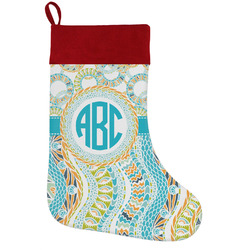 Teal Circles & Stripes Holiday / Christmas Stocking (Personalized)