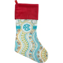 Teal Circles & Stripes Christmas Stocking (Personalized)