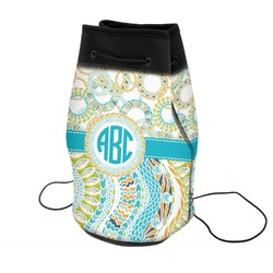 Teal Circles & Stripes Neoprene Drawstring Backpack (Personalized)