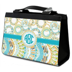 Teal Circles & Stripes Classic Tote Purse w/ Leather Trim (Personalized)