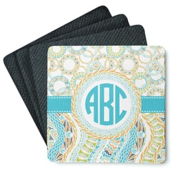Teal Circles & Stripes 4 Square Coasters - Rubber Backed (Personalized)
