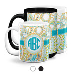 Teal Circles & Stripes Coffee Mugs (Personalized)