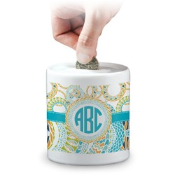 Teal Circles & Stripes Coin Bank (Personalized)