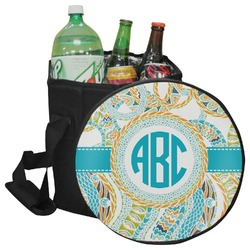Teal Circles & Stripes Collapsible Cooler & Seat (Personalized)