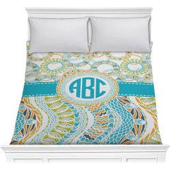 Teal Circles & Stripes Comforter (Personalized)