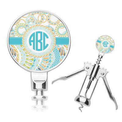 Teal Circles & Stripes Corkscrew (Personalized)