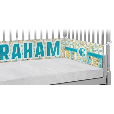 Teal Circles & Stripes Crib Bumper Pads (Personalized)
