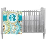 Teal Circles & Stripes Crib Comforter / Quilt w/ Monogram