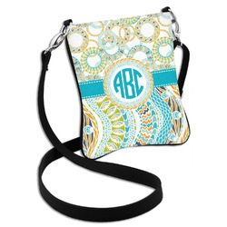 Teal Circles & Stripes Cross Body Bag - 2 Sizes (Personalized)