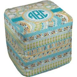 Teal Circles & Stripes Cube Pouf Ottoman (Personalized)
