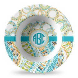 Teal Circles & Stripes Plastic Bowl - Microwave Safe - Composite Polymer (Personalized)